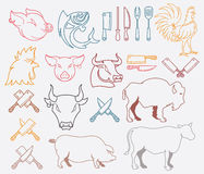 Vector gekleurde landbouwbedrijf dierlijke bundel Stock Fotografie