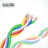 Vector gekleurde plastic kabels op wit Stock Afbeelding