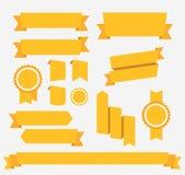 Vector Gele retro geplaatste linten elementen Royalty-vrije Stock Afbeeldingen