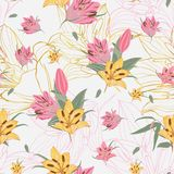 Vector gele & roze Lilium-bloemen met de gouden achtergrond van bloemstrepen royalty-vrije illustratie