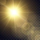 Vector gele zon met lichteffecten Stock Afbeeldingen