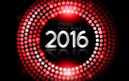 Vector - Gelukkig Nieuwjaar 2016 - het gouden kader van discolichten Stock Afbeeldingen