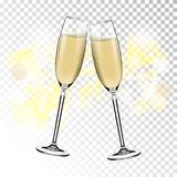 Vector Gelukkig Nieuwjaar met het roosteren van glazen champagne op transparante achtergrond in realistische stijl Groetkaart of vector illustratie