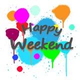 Vector gelukkig weekend met volledige kleur als achtergrond Stock Fotografie