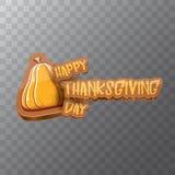 Vector Gelukkige de groettekst van het Thanksgiving dayetiket witn en oranje die pompoen op transparante achtergrond wordt geïsol vector illustratie