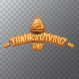 Vector Gelukkige de groettekst van het Thanksgiving dayetiket witn en oranje die pompoen op transparante achtergrond wordt geïsol royalty-vrije illustratie