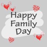 Vector gelukkige familiedag met achtergrondgrijs Stock Fotografie
