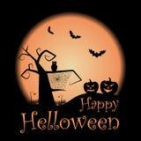 Vector gelukkige Halloween-affiche met knuppels, pompoenen en uil royalty-vrije illustratie