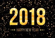 Vector Gelukkige het Nieuwjaarachtergrond van 2018 Gouden aantallen met confettien op zwarte achtergrond Stock Afbeeldingen