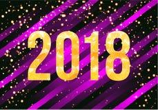 Vector Gelukkige het Nieuwjaarachtergrond van 2018 Gouden aantallen met confettien op zwarte achtergrond Stock Foto