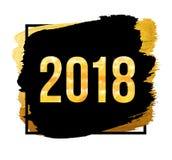 Vector Gelukkige het Nieuwjaarachtergrond van 2018 Gouden aantallen met confettien op zwarte achtergrond Royalty-vrije Illustratie