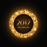 Vector Gelukkige het Nieuwjaarachtergrond van 2017 met gouden klok Royalty-vrije Stock Foto's