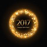 Vector Gelukkige het Nieuwjaarachtergrond van 2017 met gouden klok Royalty-vrije Stock Foto