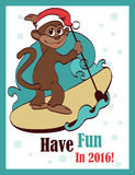 Vector Gelukkige het Surfen Paddleboarding Vakantie royalty-vrije stock foto's