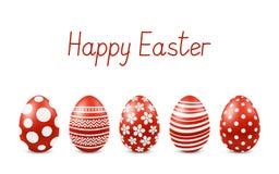 Vector Gelukkige Pasen-groetkaart met realistische geïsoleerde eieren Stock Afbeelding