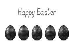 Vector Gelukkige Pasen-groetkaart met realistische geïsoleerde eieren Stock Foto