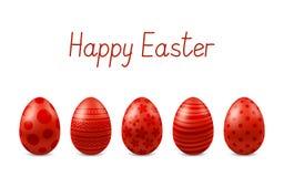 Vector Gelukkige Pasen-groetkaart met realistische geïsoleerde eieren Vijf rode glanzende metaalpaaseieren Tekst ` Gelukkige Pase Royalty-vrije Stock Afbeelding