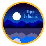 Vector gelukkige vakantie met achtergrond van bergen Royalty-vrije Stock Afbeelding