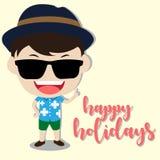 Vector gelukkige vakantie met mensenkarakter Royalty-vrije Stock Foto's
