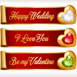 Vector Gem Hearts and Red Ribbons horizontal Banners set Royalty Free Stock Photos