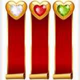 Vector Gem Hearts and Red Ribbons vertical Banners set Royalty Free Stock Photos