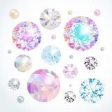 Vector gems set. Abstract background with diamonds and pearls royalty free illustration