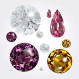 Vector gems. Set with vector gems. Diamonds and pearl vector illustration