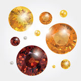 Vector gems. Set with vector gems. Diamonds and pearl Stock Image