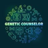 Vector genético del consejero alrededor del ejemplo colorido del esquema stock de ilustración