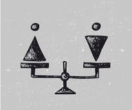 Vector gender equality illustration. Man and woman on scales Royalty Free Stock Photos