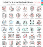 Vector Genetics and biochemistry color flat line outline icons for apps and web design. Genetics chemical high royalty free illustration