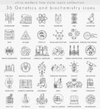 Vector Genetics and biochemistry technology ultra modern outline line icons. For web and apps Stock Images
