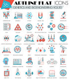 Vector Genetics and bioengineering ultra modern outline artline flat line icons for web and apps. Stock Images