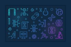 Vector Genetics and DNA concept colorful outline banner. Or illustration on dark background stock illustration