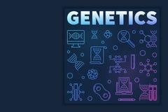 Vector Genetics modern concept illustration in outline style. On dark background royalty free illustration