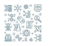 Vector Genetics square concept banner in thin line style. Vector Genetics square simple concept banner in thin line style royalty free illustration