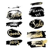 Vector gentle gold and black paint smear stroke set with lettering. Abstract black glittering art illustration. Hand. Drawn brush strokes vector design elements stock illustration