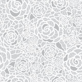Vector gentle silver grey lace roses seamless repeat pattern background. Great for wedding or bridal shower decor