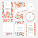 Vector gentle wedding cards template. With flower design. Wedding invitation or save the date, RSVP, menu and thank you card for bridal design. Vector set of Stock Photo