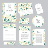Vector gentle wedding cards template. With flower design. Wedding invitation or save the date, RSVP, menu and thank you card for bridal design. Vector set of Stock Image