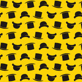Vector gentleman pattern with bowler hat. Cartoon style illustra Royalty Free Stock Photo