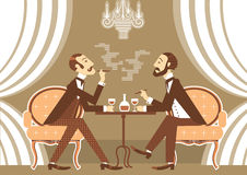 Vector gentlemen talking and drinking alcohol in club. Gentlemen talking and drinking in club.Vintage illustration of retro club Stock Image