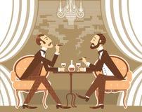 Vector gentlemen in tobacco smoke in club Stock Image