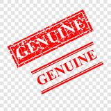 Genuine, 2 style streak red rubber stamp, at transparent effect background stock photography