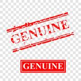 Genuine, 2 style streak red rubber stamp, at transparent effect background stock photos