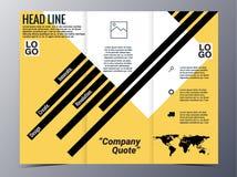 Vector geométrico amarillo abstracto de la plantilla del diseño del folleto del modelo Fotografía de archivo