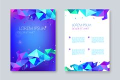 Vector geometric abstract brochure design, facet triangle style. flyer, poster template. Cover design. Black and purple origami vector illustration