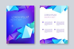 Vector geometric abstract brochure design, facet triangle style. flyer, poster template. Cover design. Black and purple origami royalty free illustration