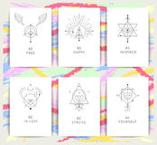 Vector geometric alchemy symbols with inspired phrases stock illustration