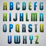 Vector geometric alphabet, bold and condensed font in retro post Stock Photos